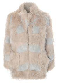 Contrast Fur Coat