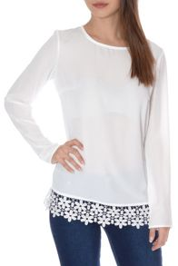 Long Sleeve Crochet Hem Top