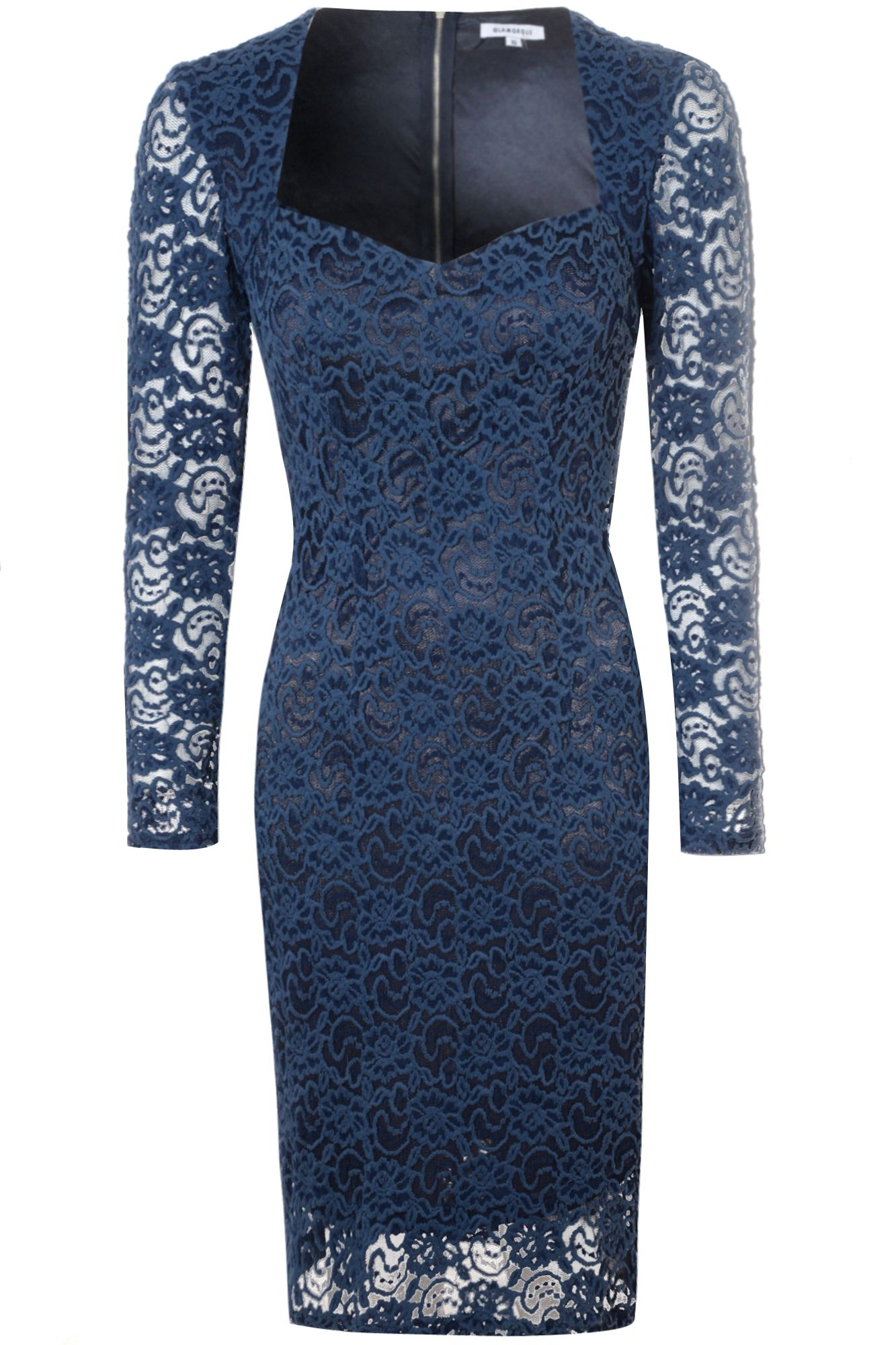 Alice & You Sweetheart Lace Dress, Navy