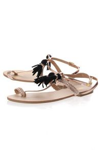 Tassle Detail T-Bar Sandals