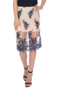 Lace Organza Pencil Skirt