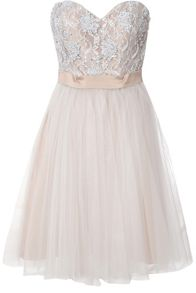 Pearl Embellished Mesh Prom Dress