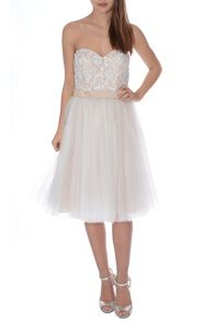 True Decadence Pearl Embellished Mesh Prom Dress