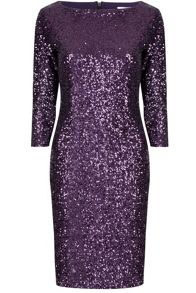 Sequin sleeved bodycon dress