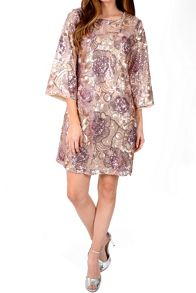 Flared Sleeve Sequin Dress