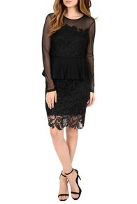Lace Overlayer Peplum Dress