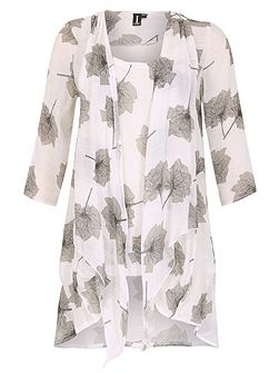 Floral Tunic Dress With Front Tie