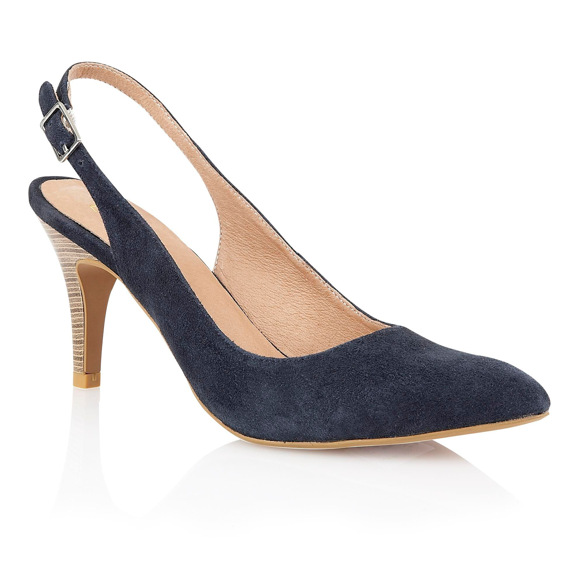 Russell And Bromley Navy Suede Court Shoes