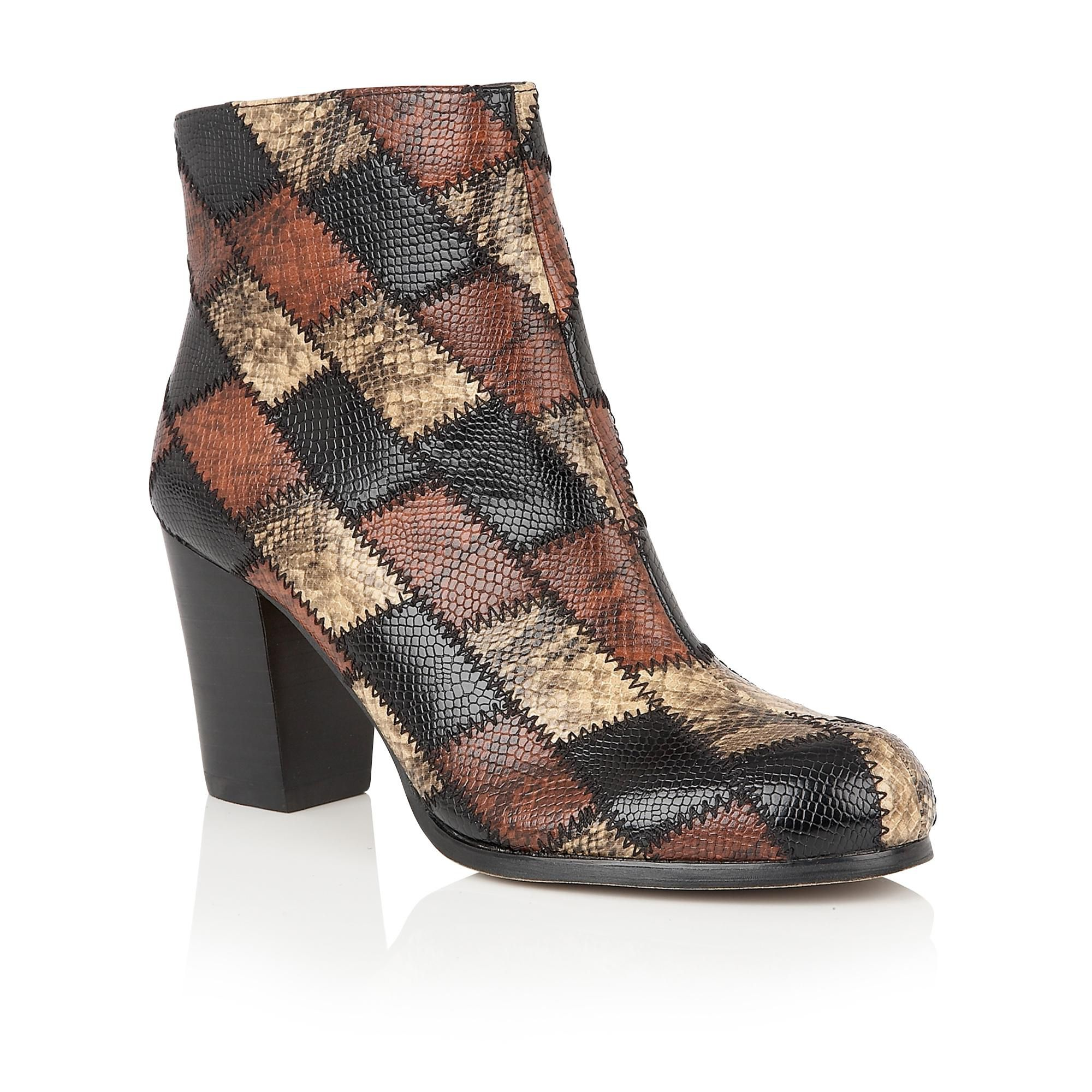 Lotus Laura animal print ankle boots Brown