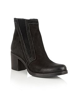 Crimson nubuck leather ankle boots