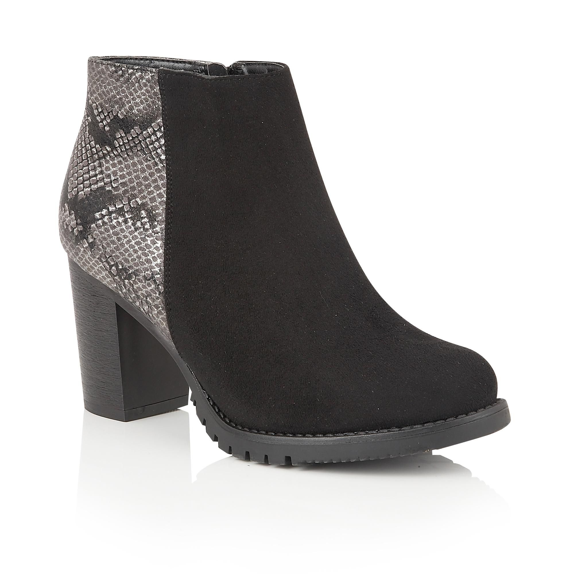 Lotus Gemini animal print ankle boots Black