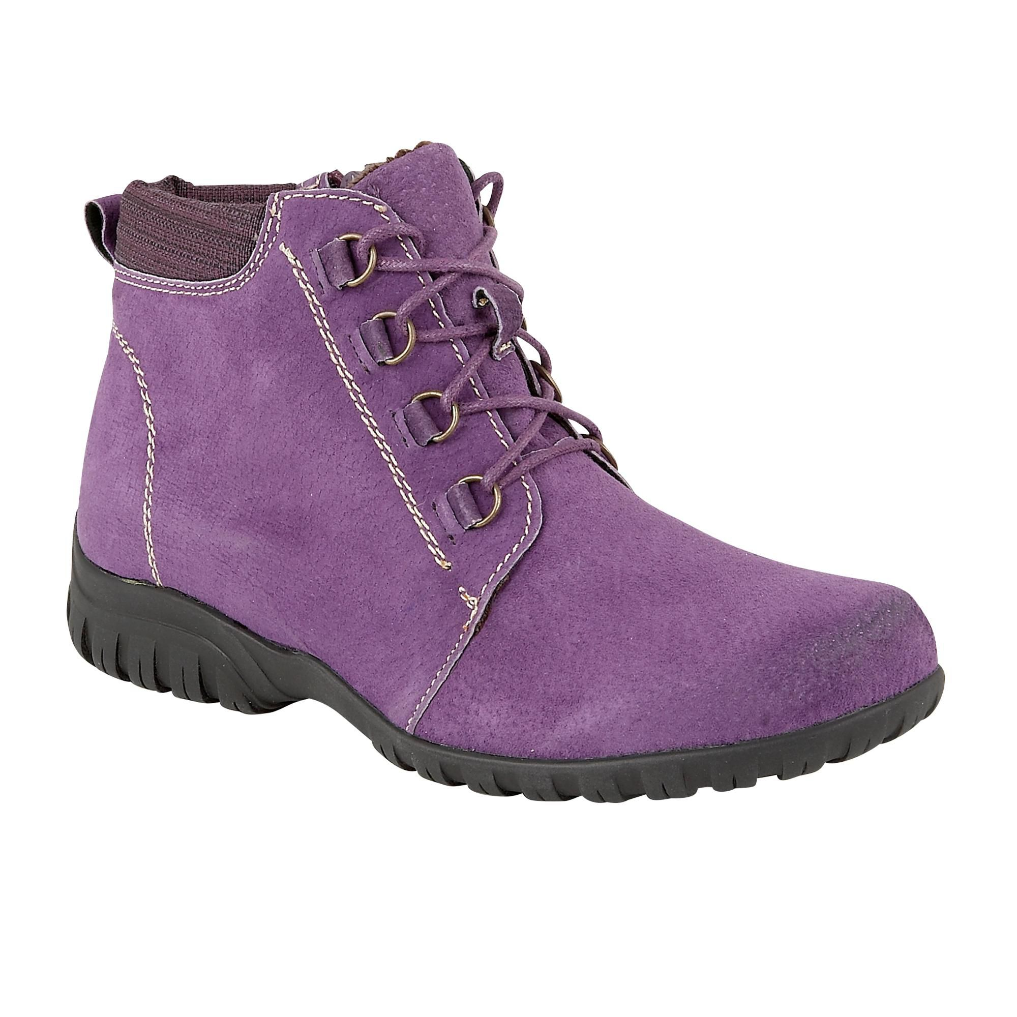 Lotus Santana suede lace up ankle boots Purple