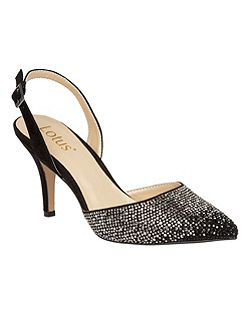 Spinley diamante sling back heels