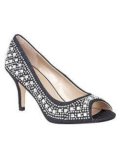 Serenity diamante peep toe courts