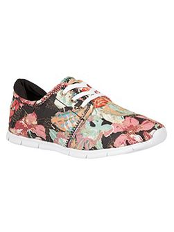 Meadow floral print lace up trainers