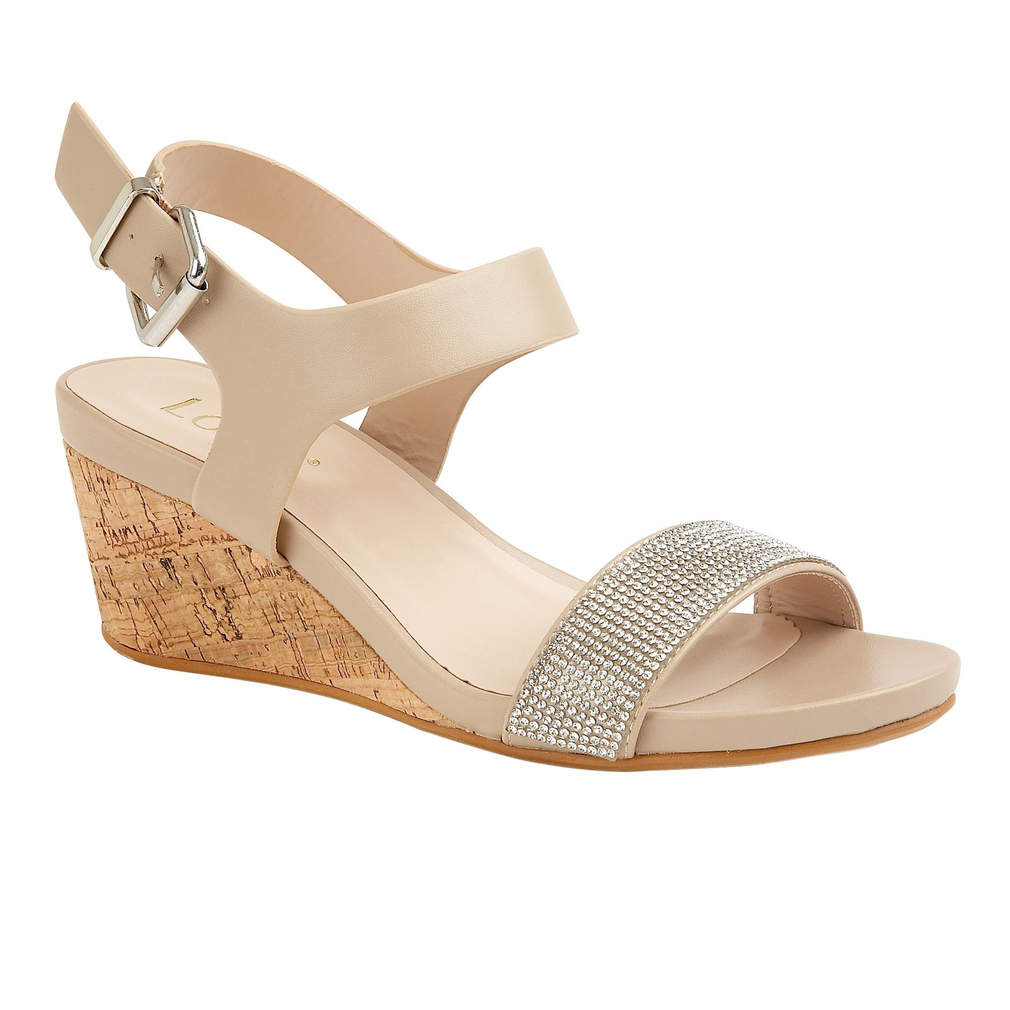 Lotus Ace Wedge Sandals, Nude