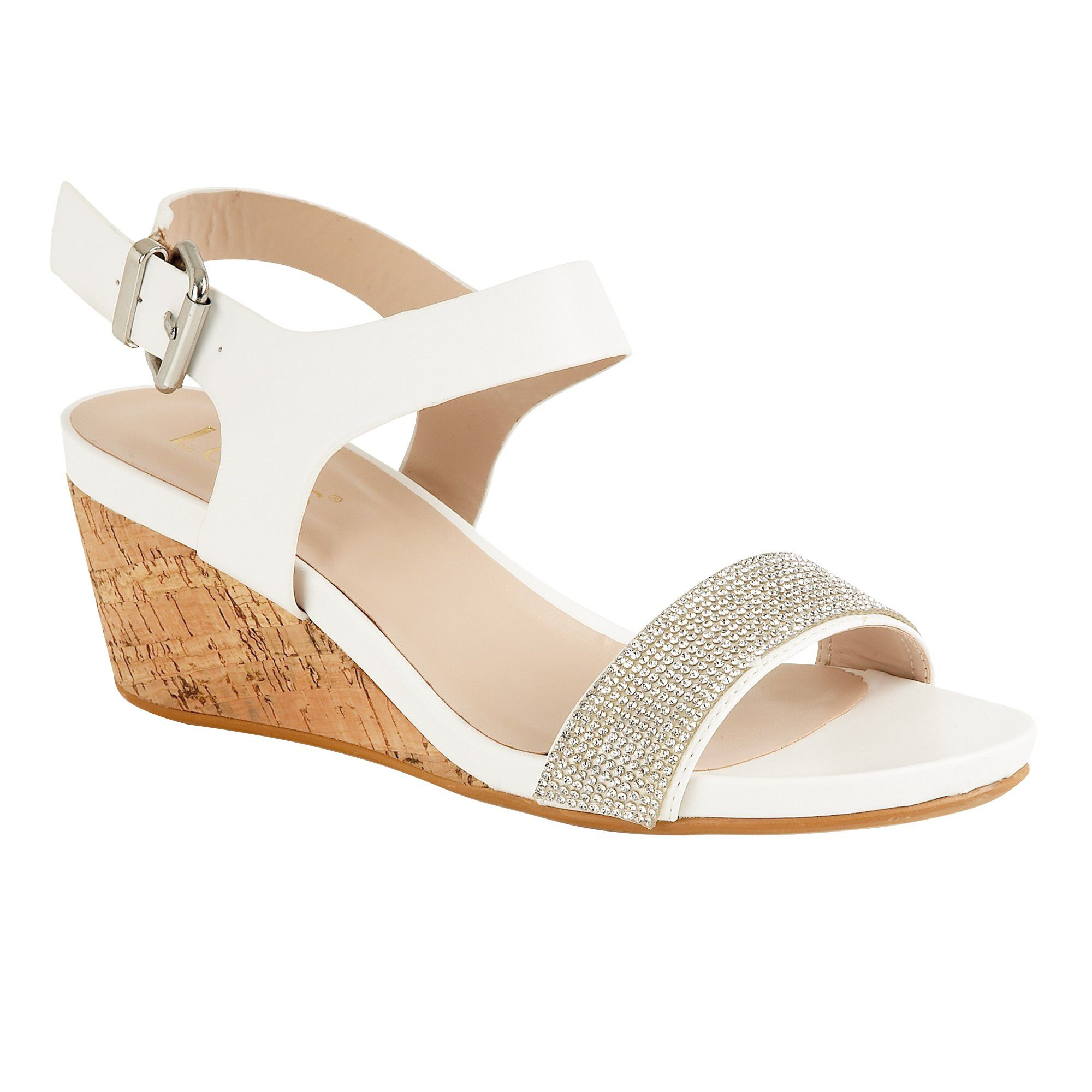 Lotus Ace Wedge Sandals, White