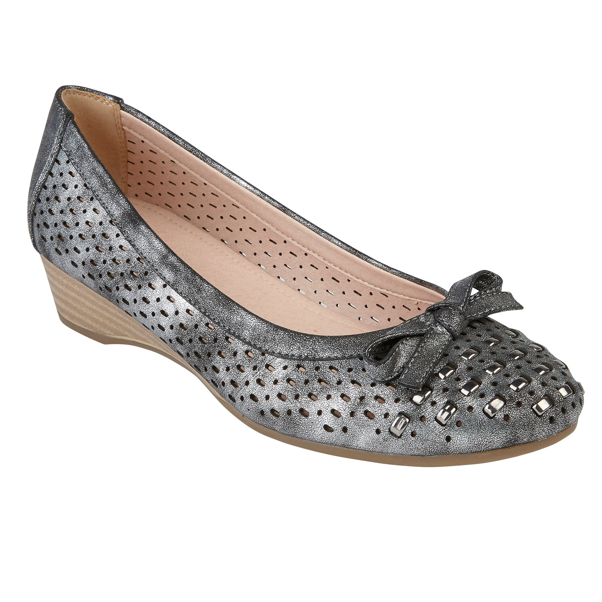 Lotus Button Low Wedge Courts, Pewter