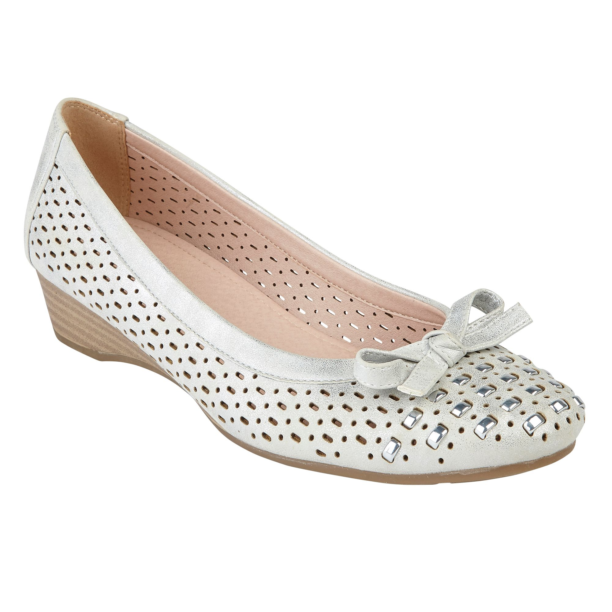 Lotus Button Low Wedge Courts, Silver
