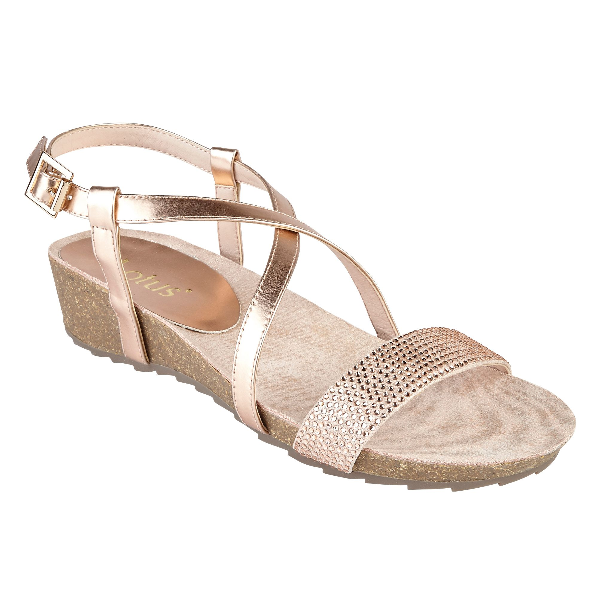 Lotus Cuba Strappy Sandals, Rose Gold