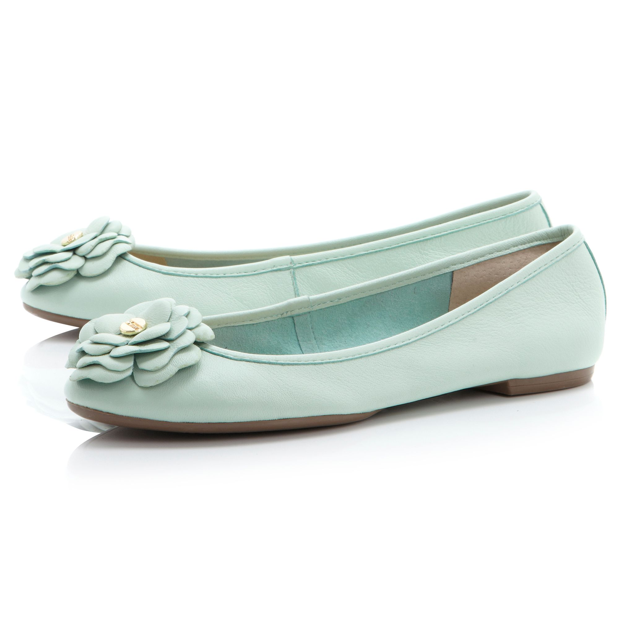 Mariah floral corsage metal trim ballerina shoes