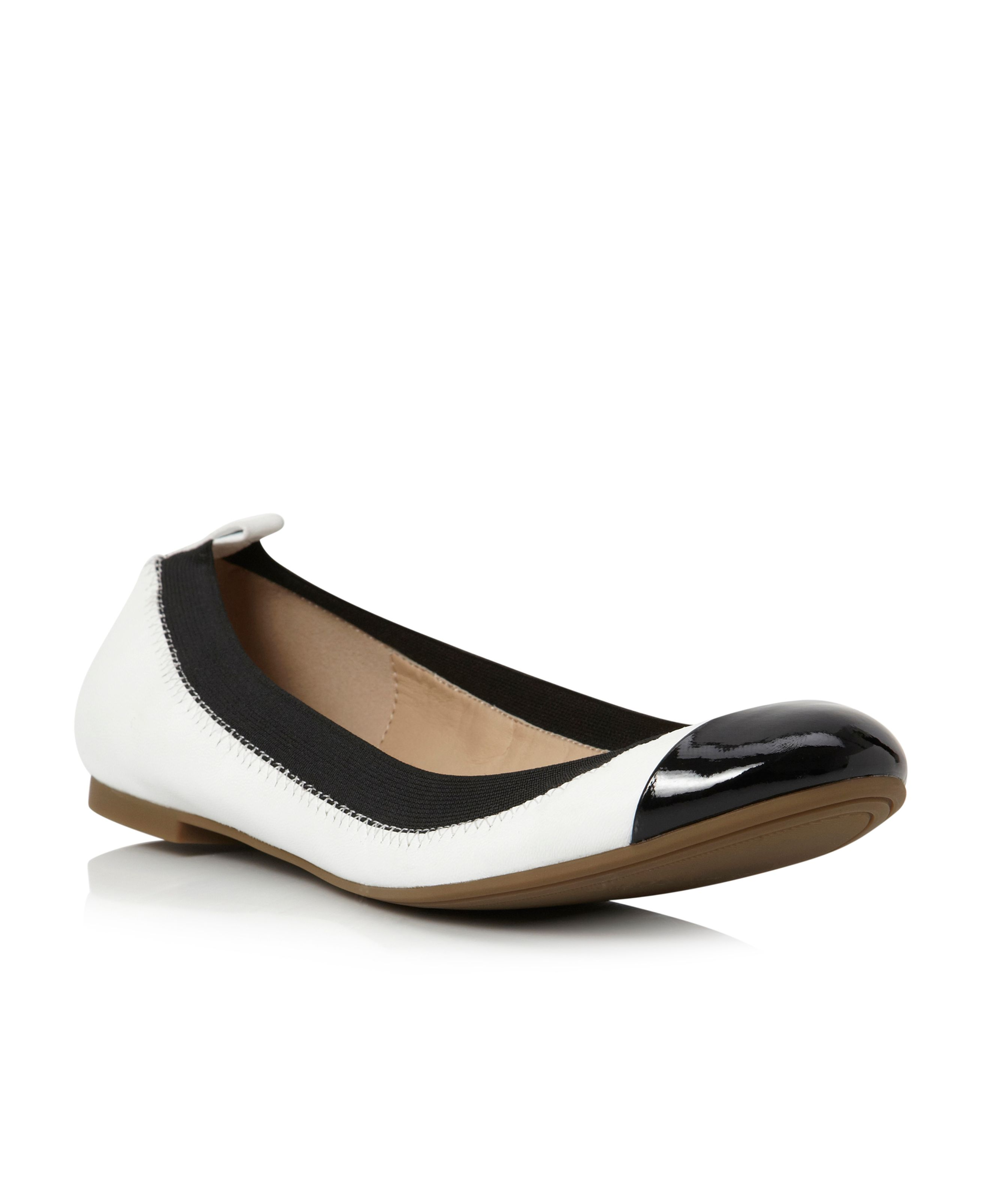 Marilla elasticated toe cap ballerina shoes