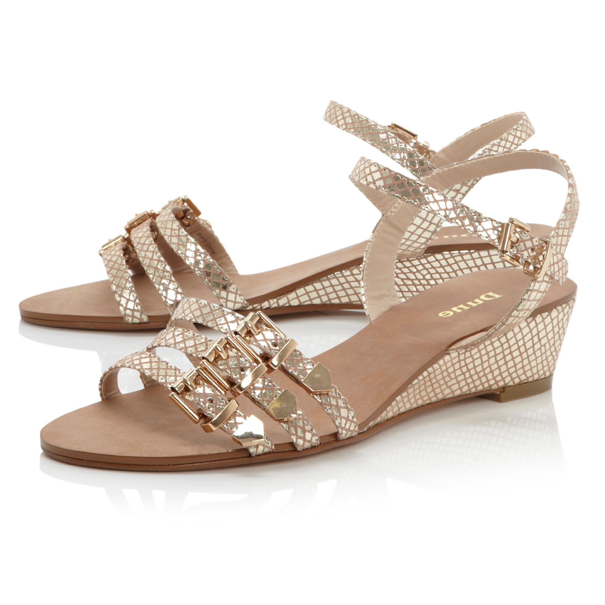 Gripped peep toe multi strap wedge sandals