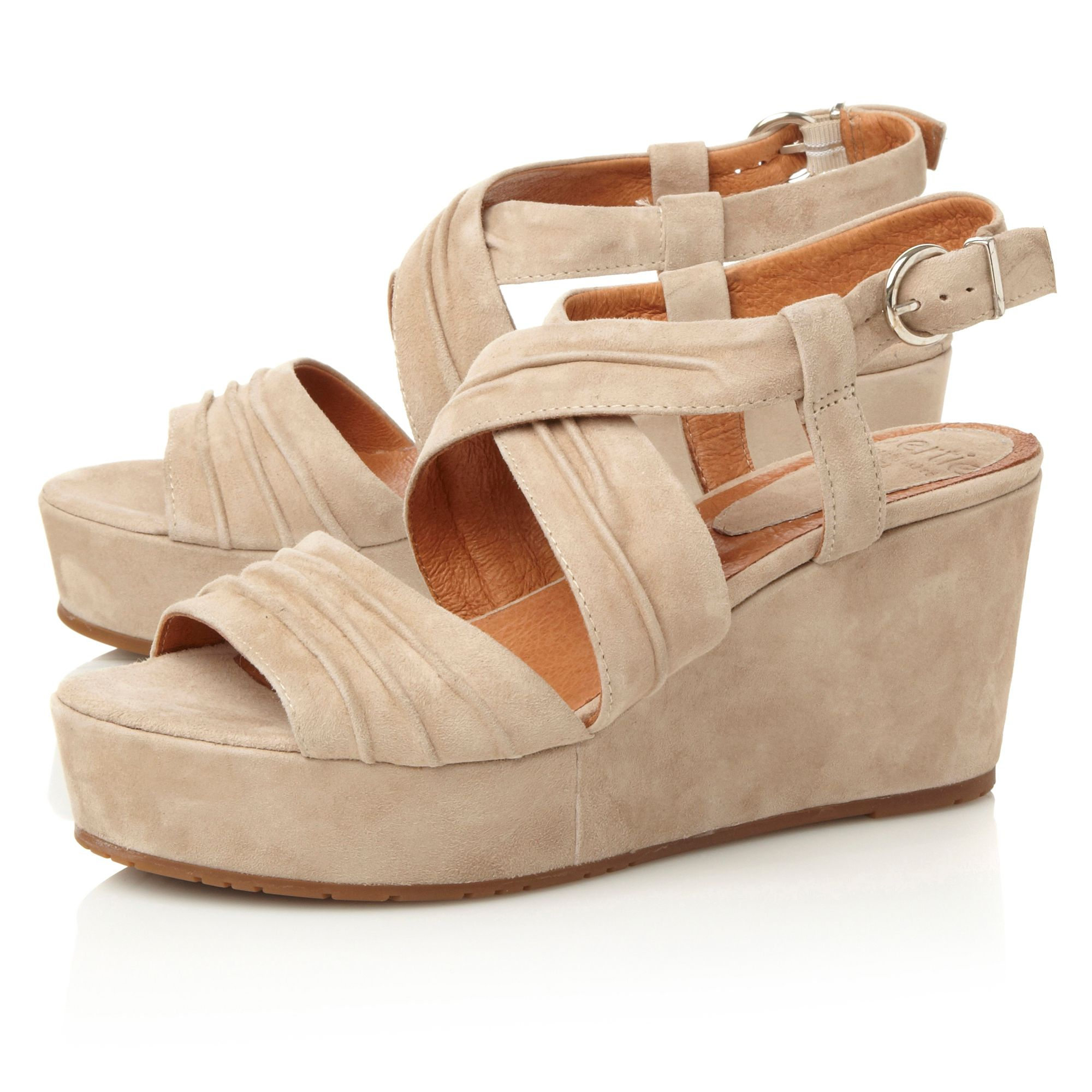 Golder cross strap wedge shoes