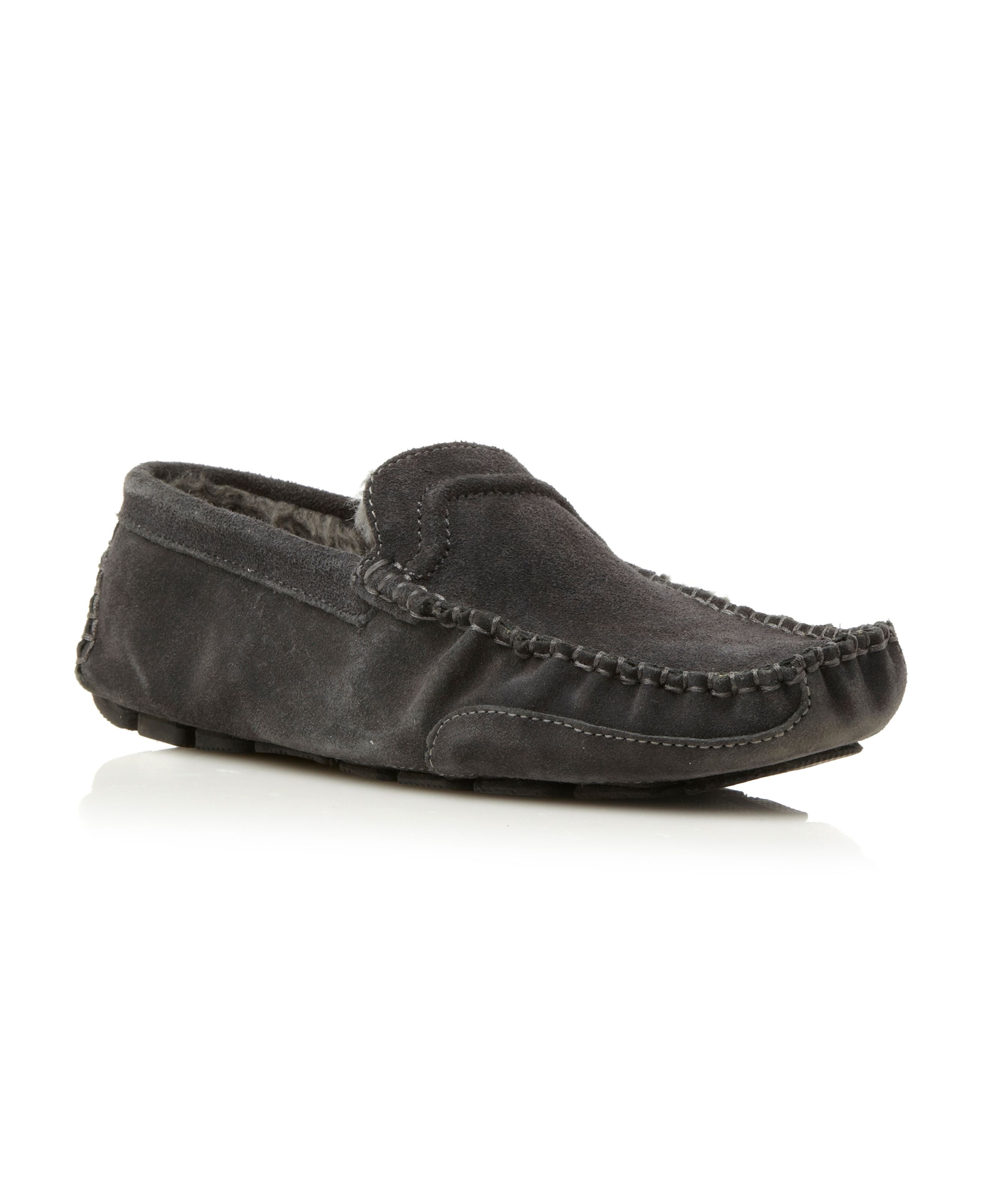 Furlong faux fur lined driver slippers