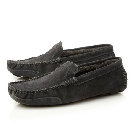 Dune Furlong faux fur lined driver slippers