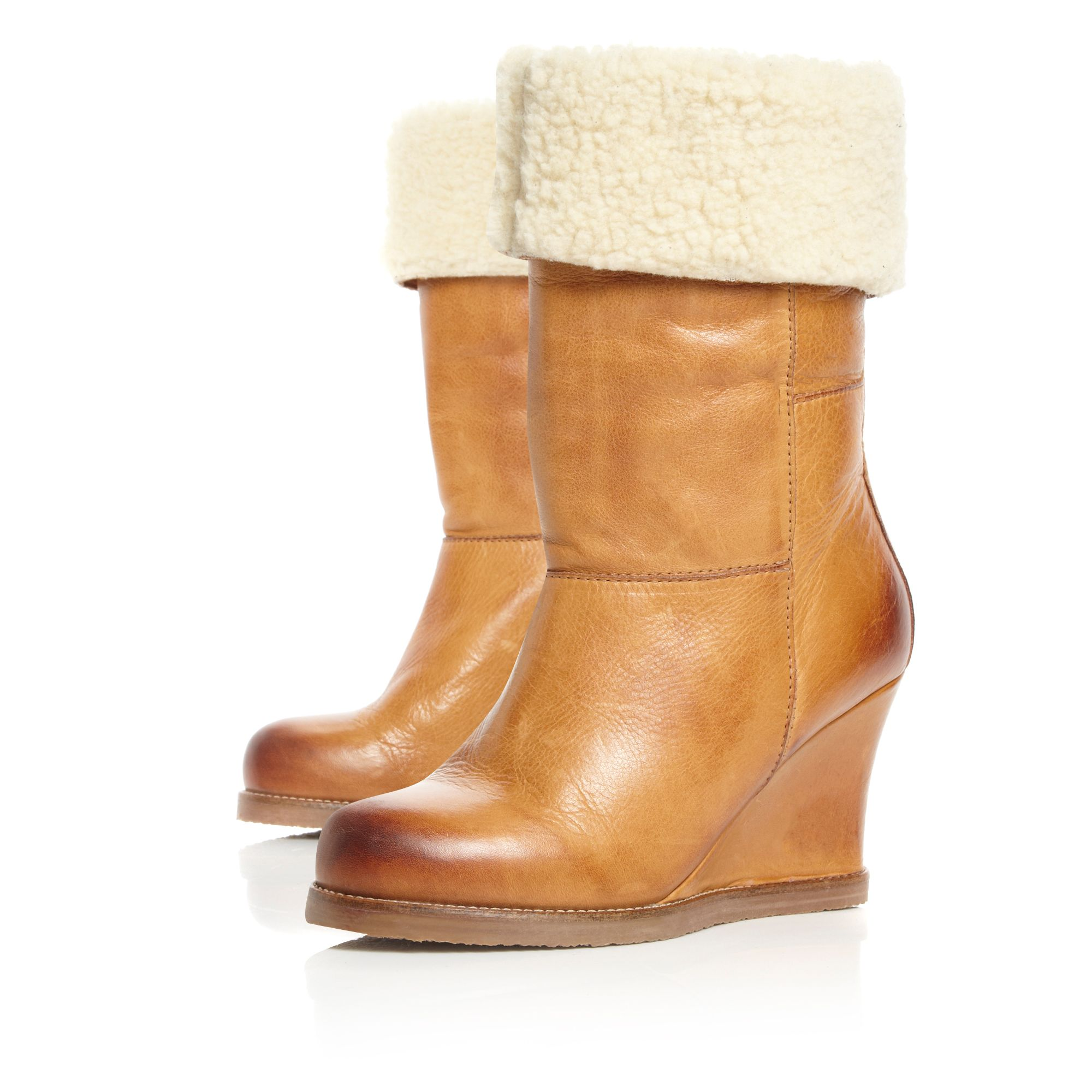 Rocha Faux Fur Crepe Sole Wedge Boots