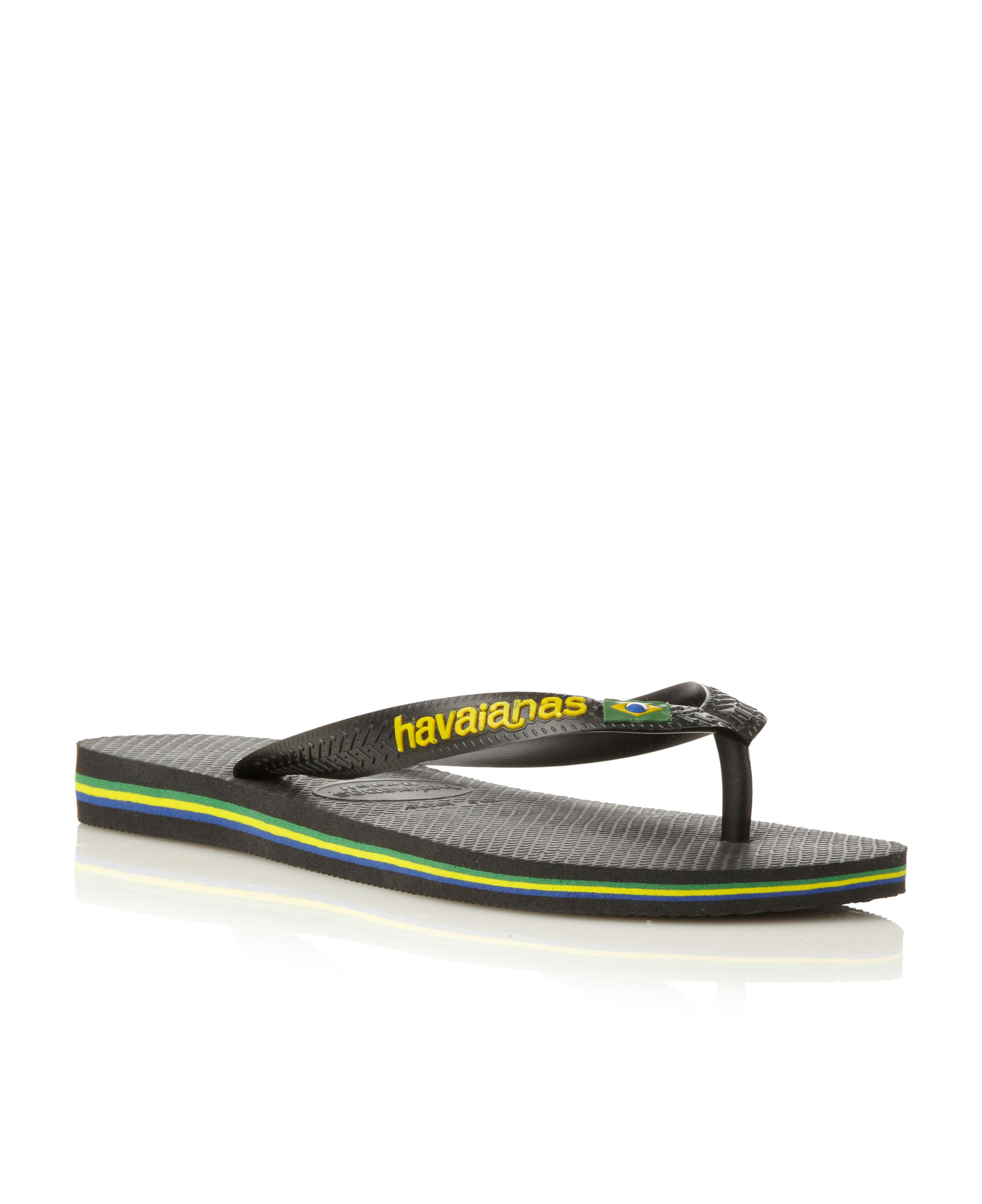 Men 39 s havaianas classic logo flip flops black for Quality classic house of fraser