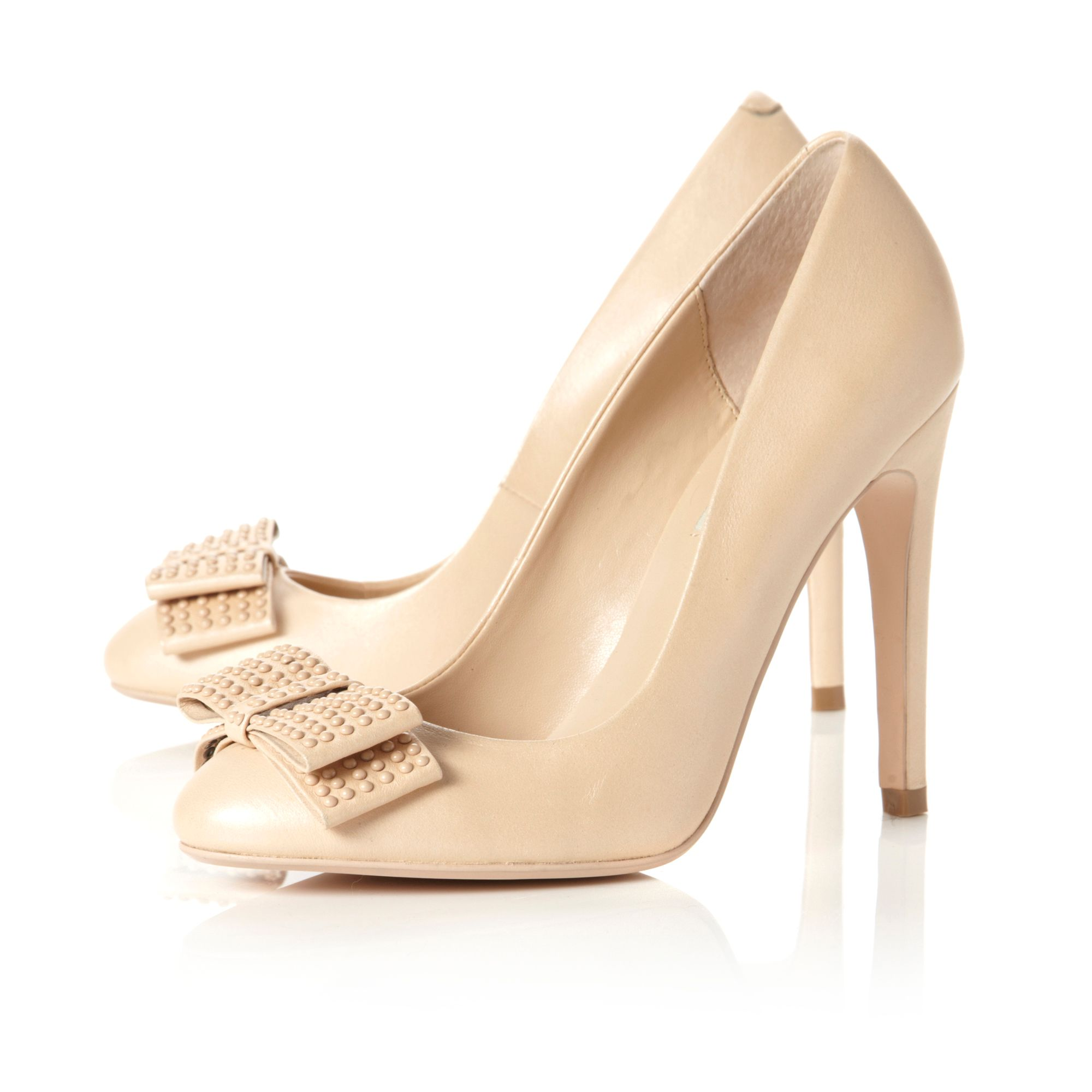 Abode white enamel bow stud court shoes