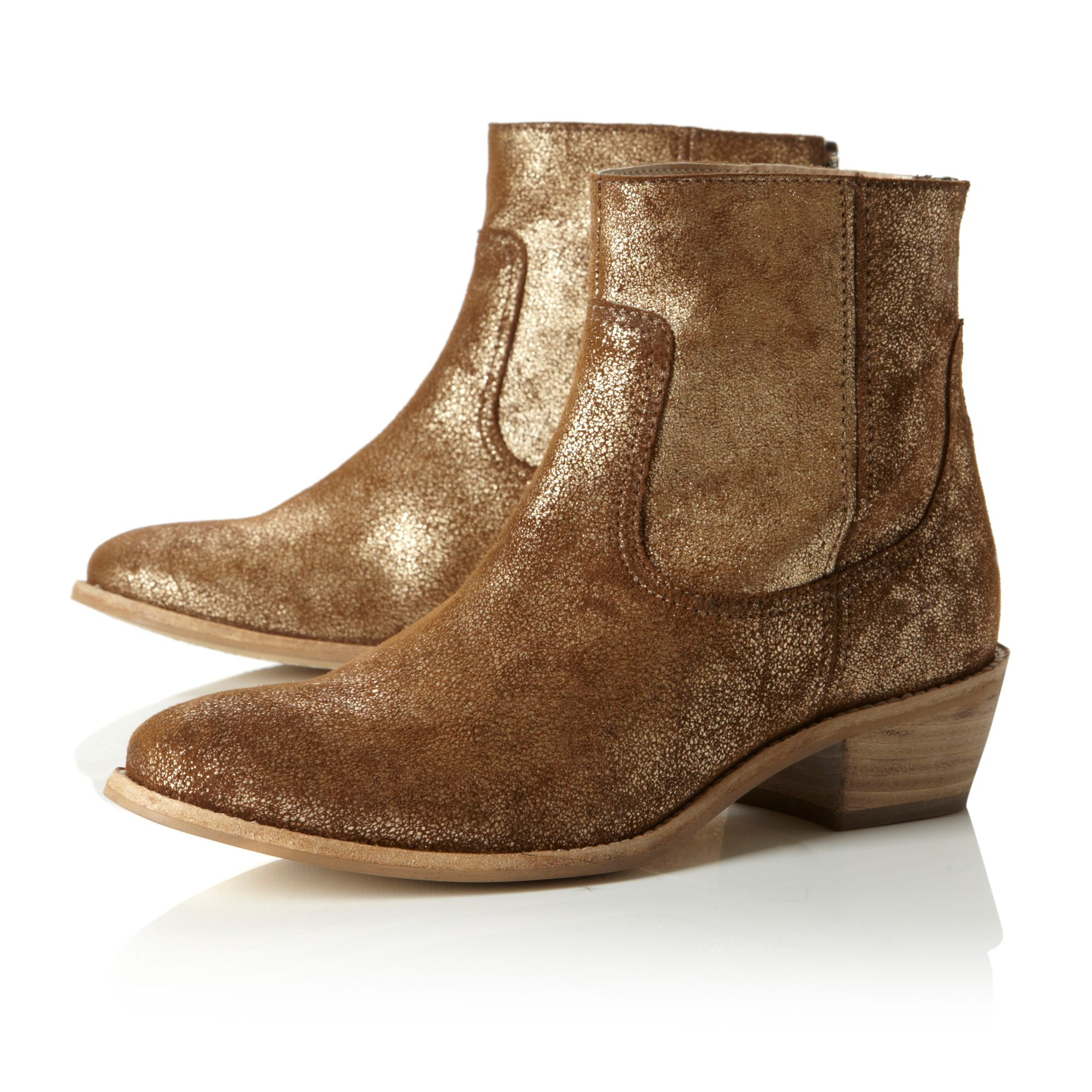Picker Distressed Metallic Boots