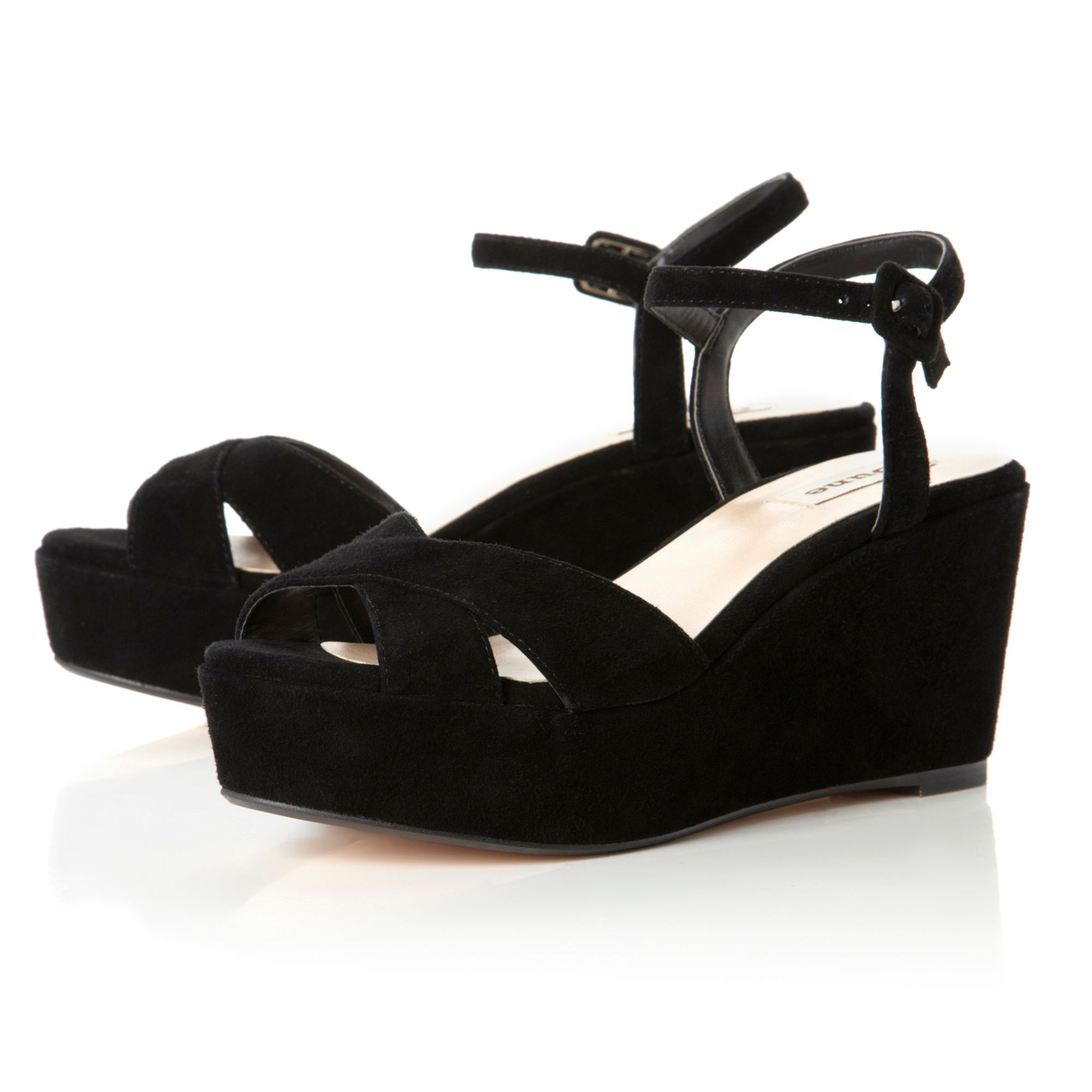 Granted Flatform Strap Cross Wedge Sandals