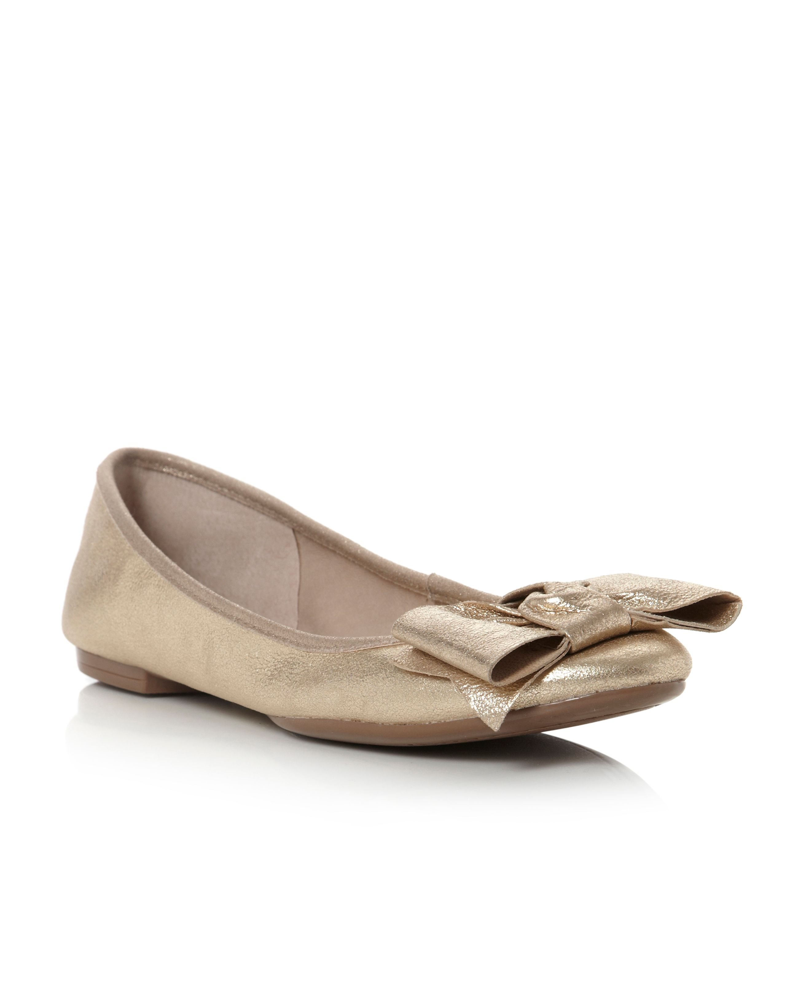 Melbont Champagne Metallic Ballerina Shoes