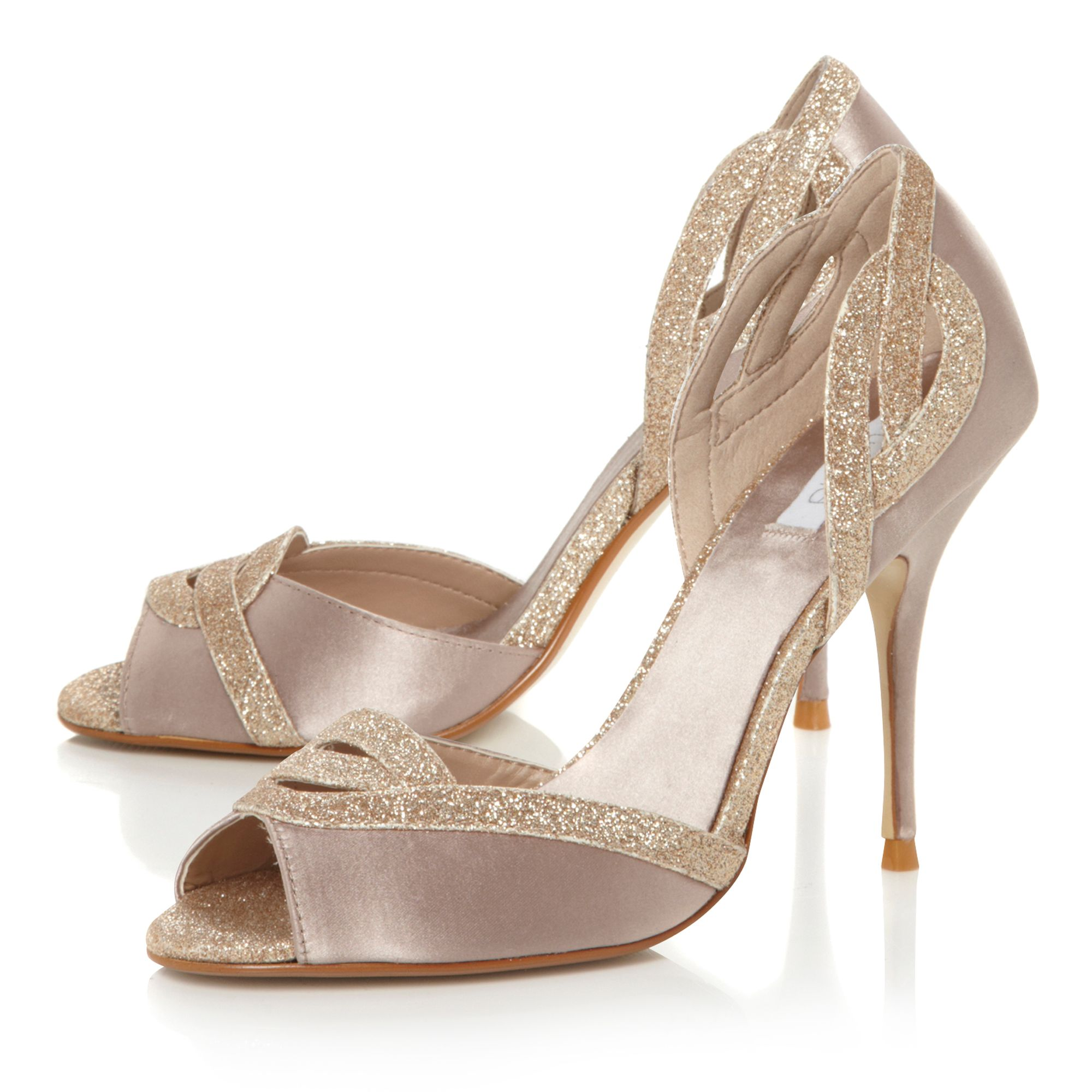 Dove glitter topline d`orsay court shoes