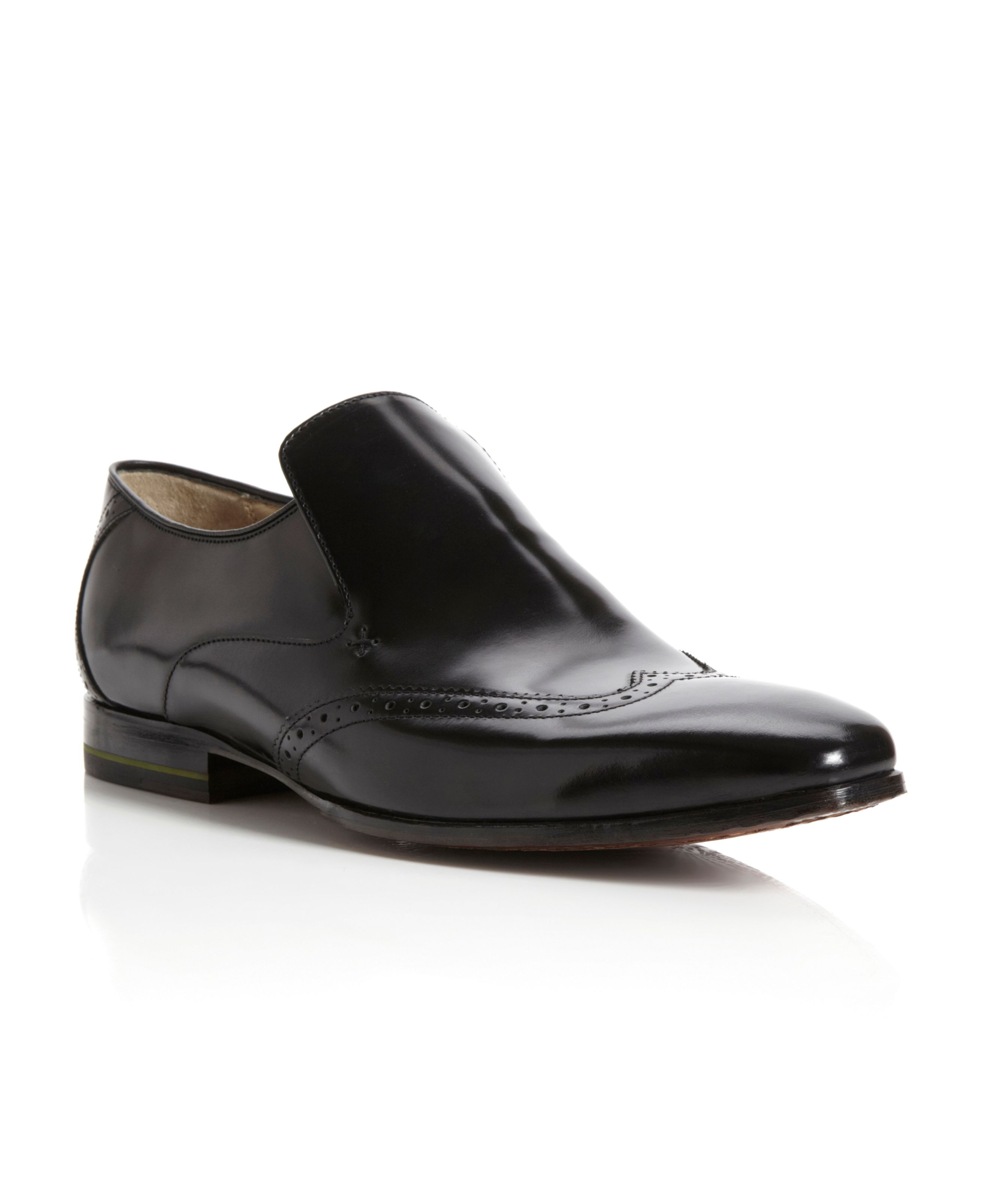 Bacton brogue slip on formal shoes