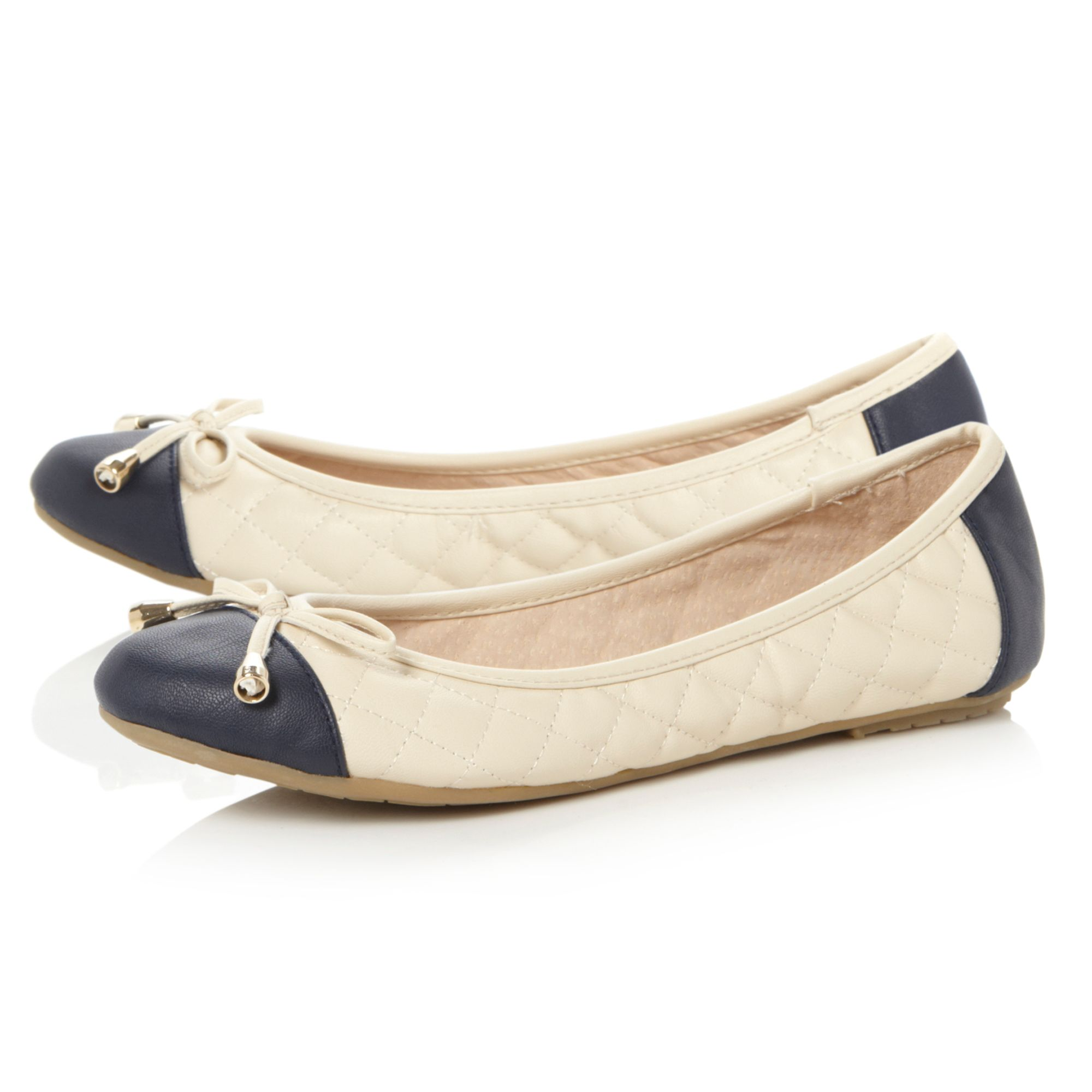 Marbella toe cap quilted upper ballerina shoes