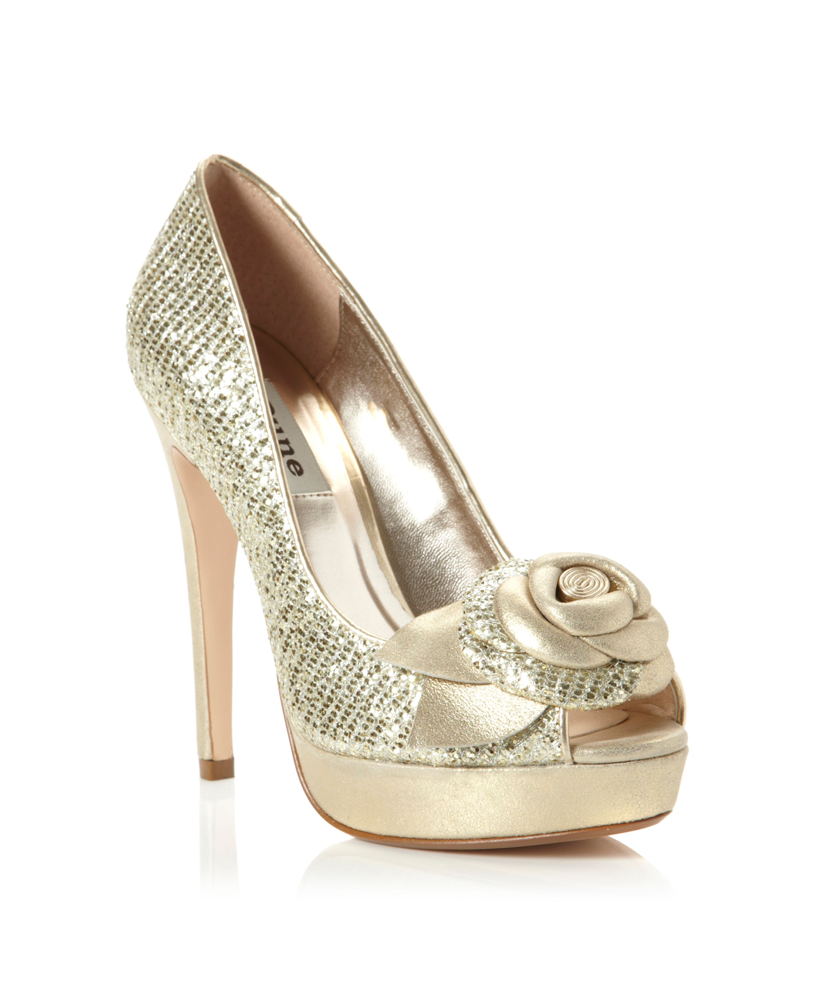 Discos flower trim peep toe court shoes