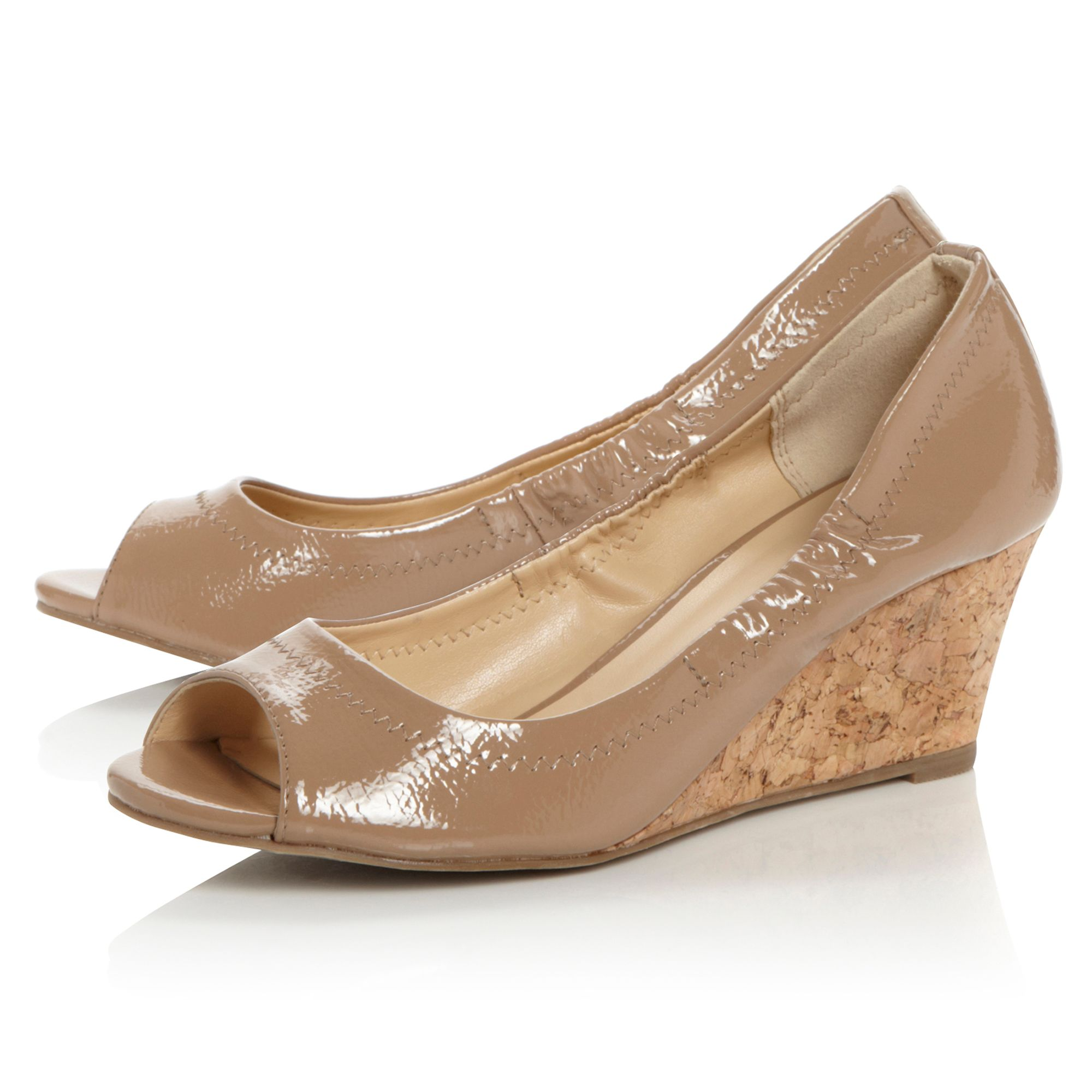 Calais elasticated topline peep toe court shoes