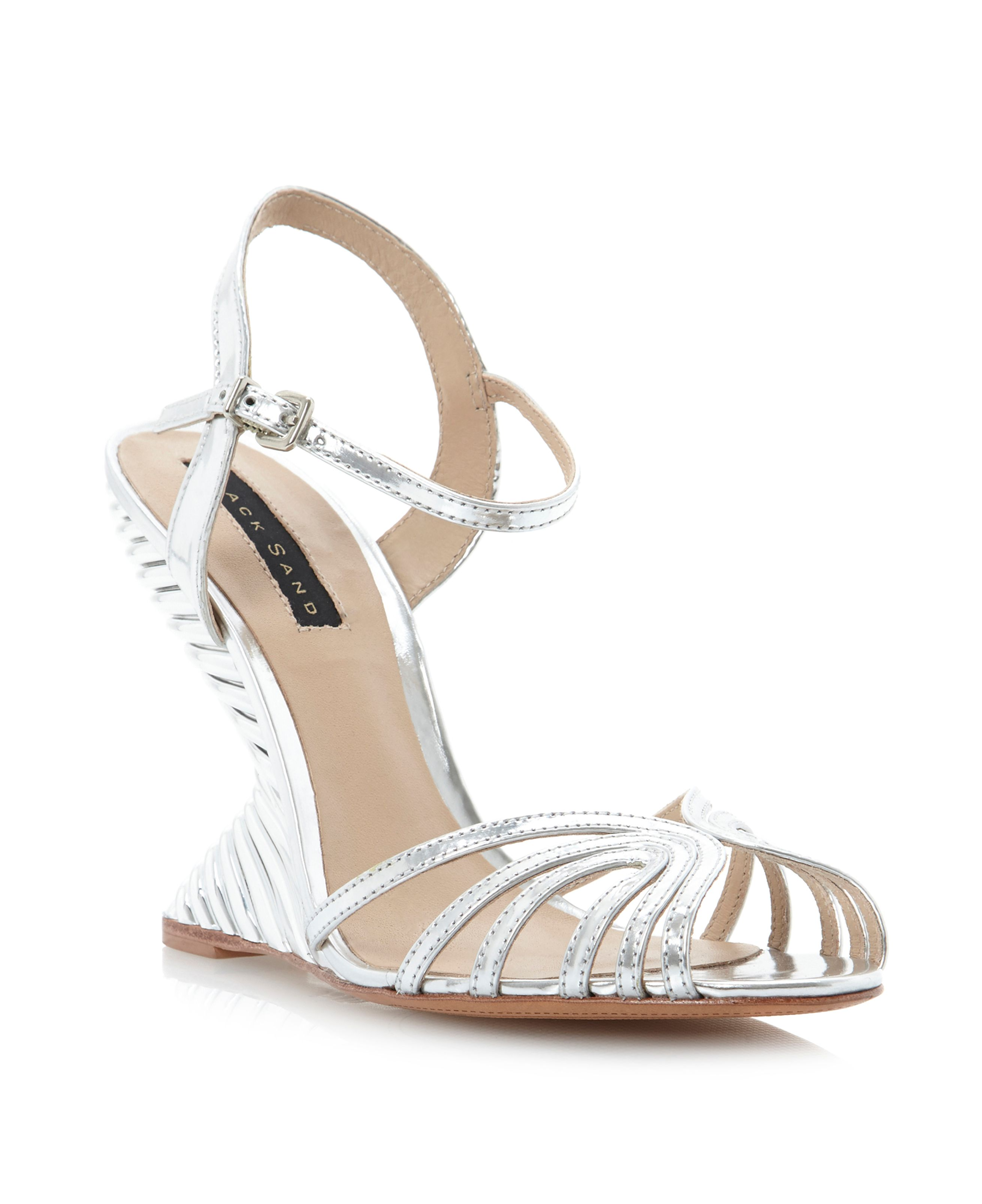 Babes metallic teared wedge sandals