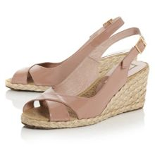Lata cross vamp slingback wedge shoes