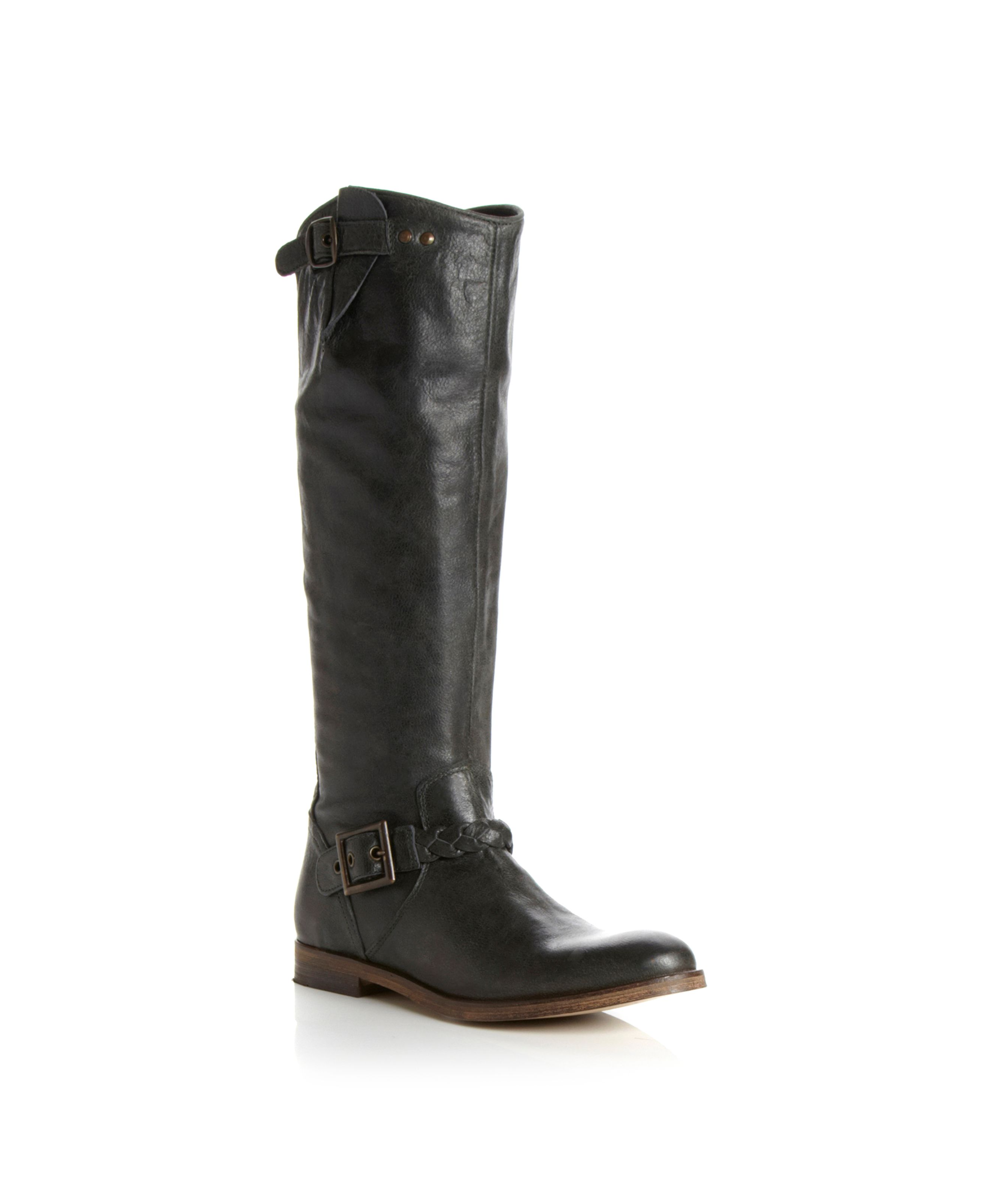 Tyler Plait Buckle High Leg Boots