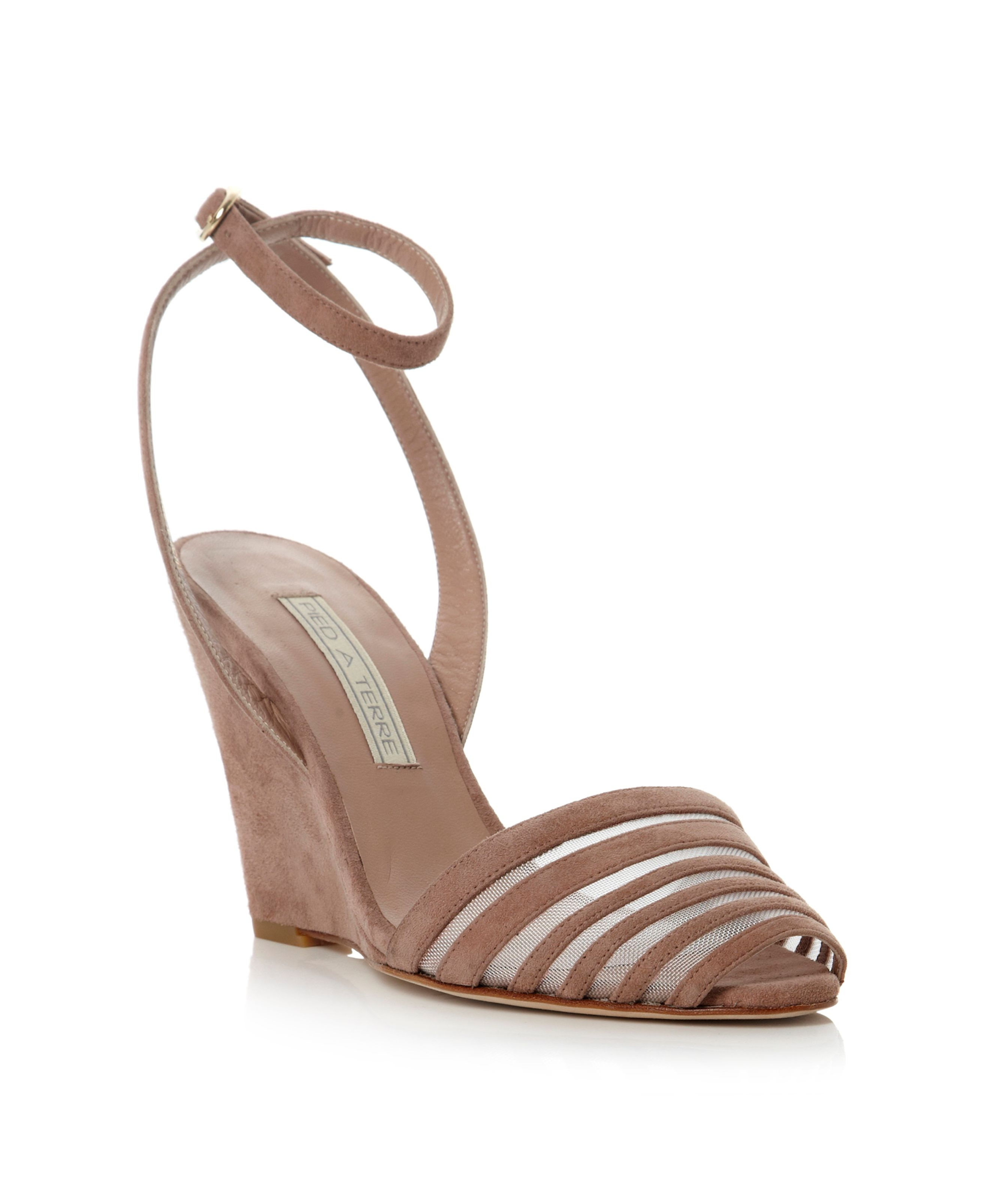 Jaded mix material tie wedge sandals