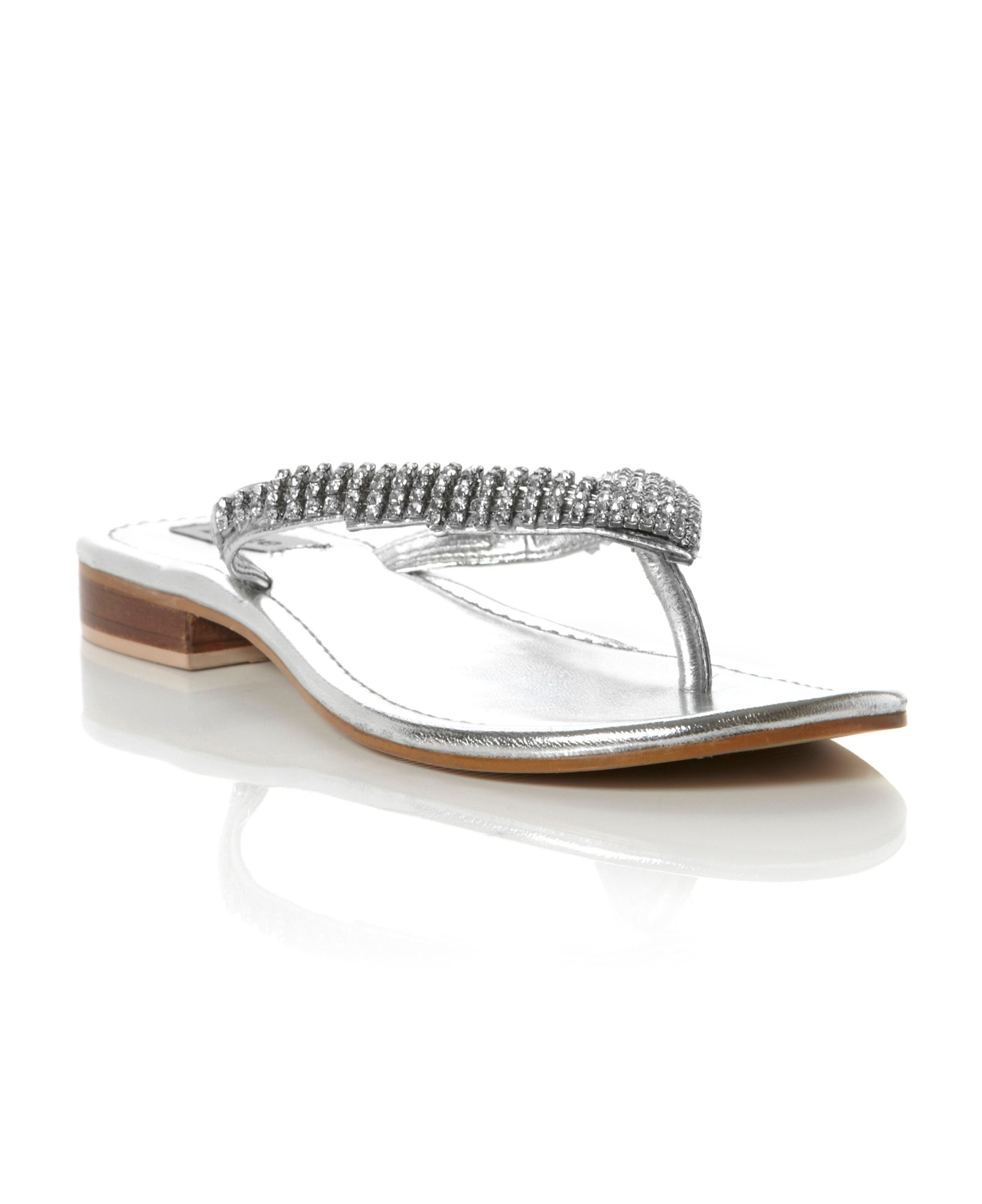 Keeper Diamante Toe Post Flip Flop Sandals