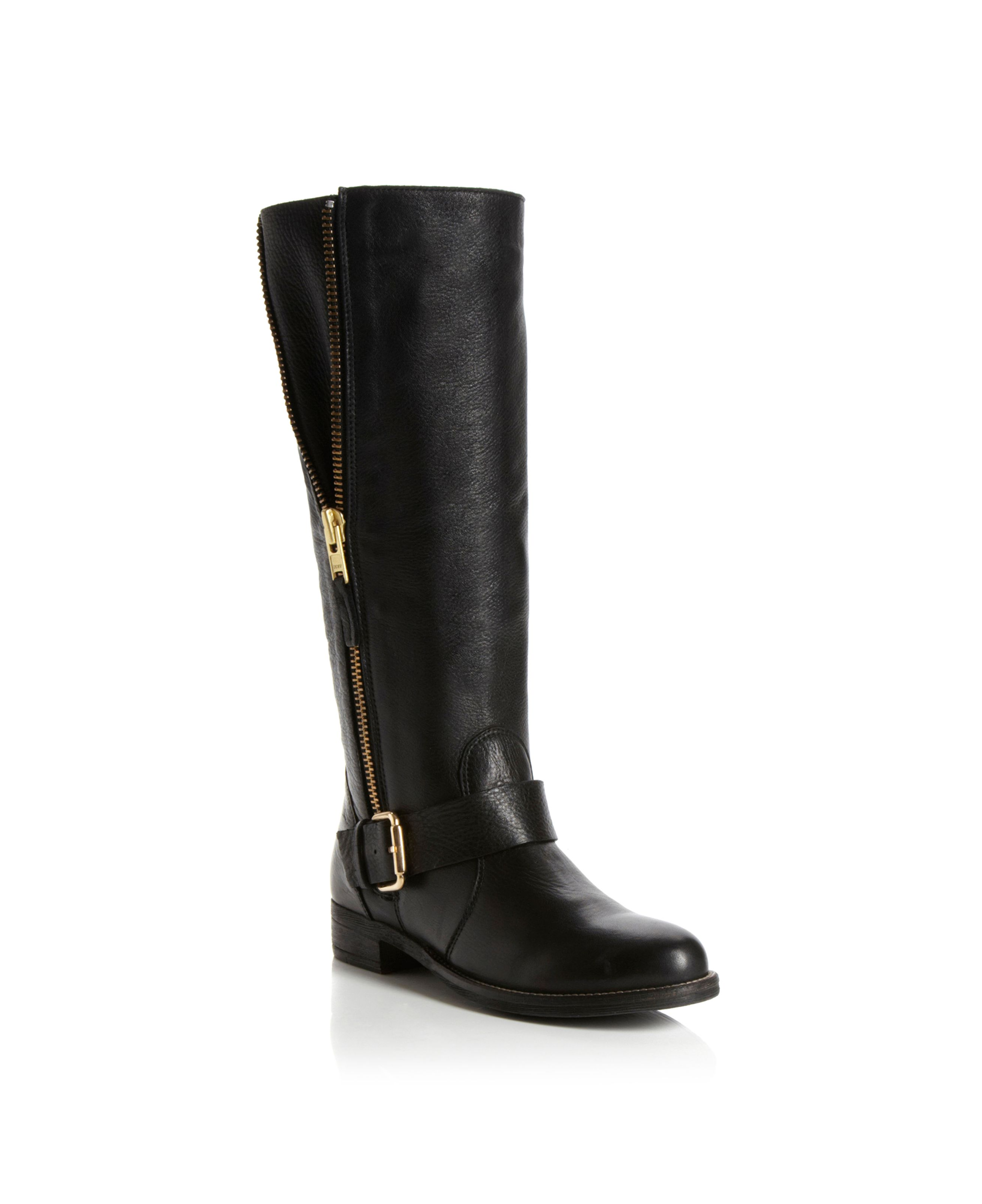Tammy High Leg Gold Trim Biker Boots