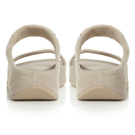 FitFlop Flare Slide Sequin 2 Bar Mule Wedge Shoes