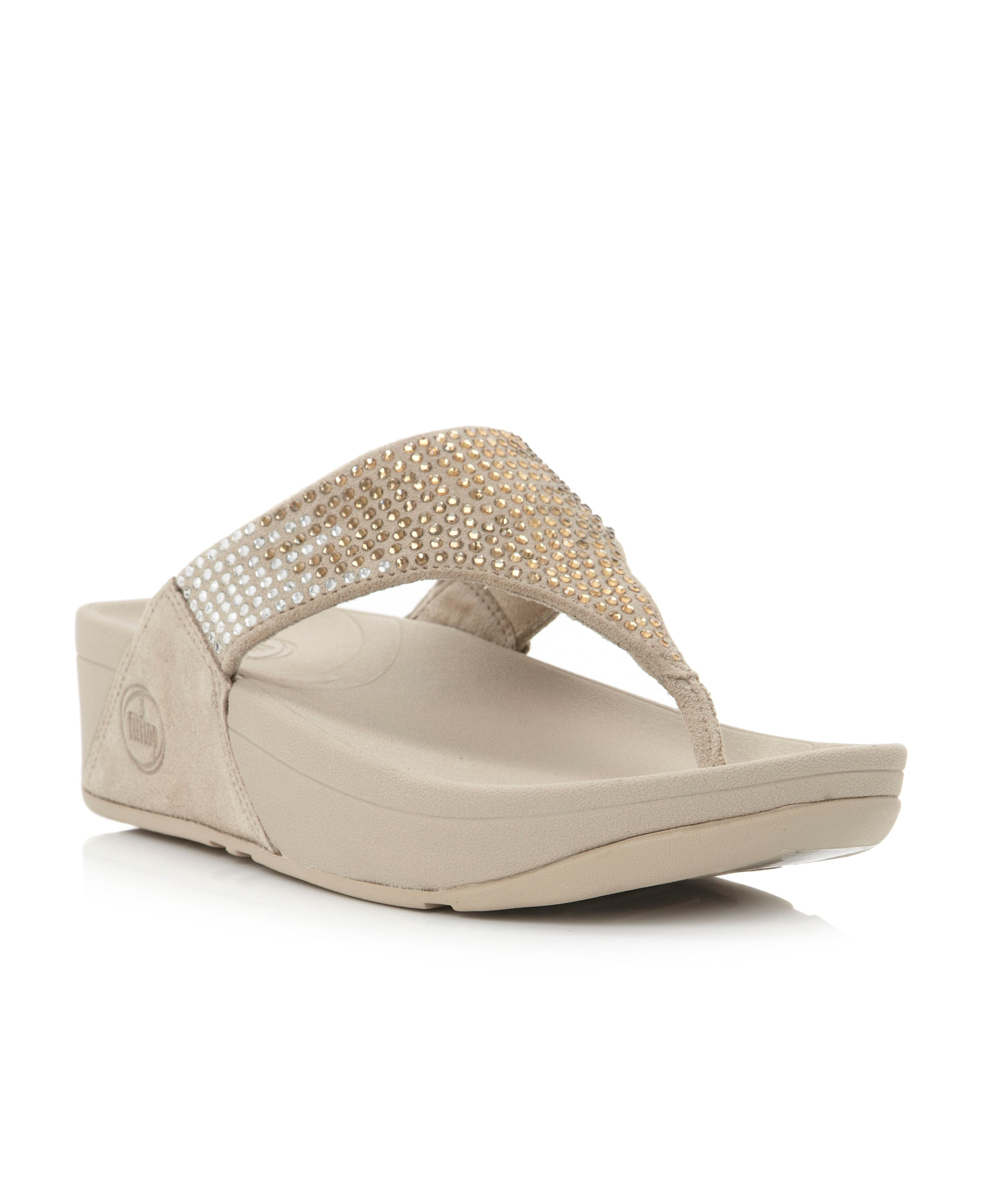 Flare Sequin T-Post Wedge Sandals