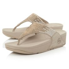 FitFlop Flare Sequin T-Post Wedge Sandals